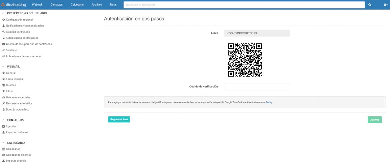 Autenticación en 2 pasos Webmail dinahosting